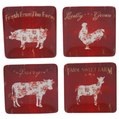 Certified International Farmhouse Canape Plates, Set of 4