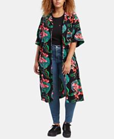 Levi's® Trendy Plus Size Scarlet Floral-Print Shirt Kimono
