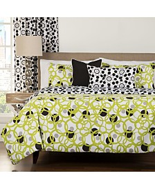 Siscovers Full Circle Green Modern Reversible 6 Piece Cal King High End Duvet Set