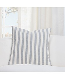 "Farmhouse Pewter Striped 26"" Designer Euro Throw Pillow"