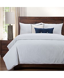 Heritage Blue Ticked Stripe Farmhouse 6 Piece Cal King High End Duvet Set