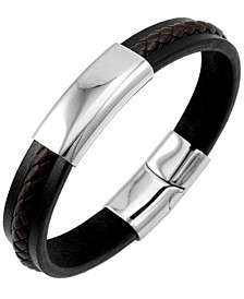 Sutton Stainless Steel Two-Tone Leather Bracelet With Braided Stripe Detail