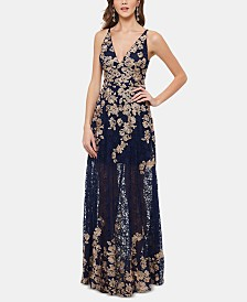 XSCAPE Petite Embroidered Lace Gown