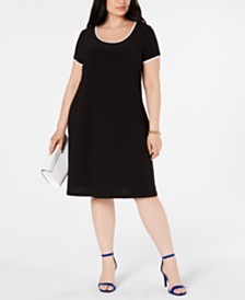 MSK Plus Size Piped Shirt Dress