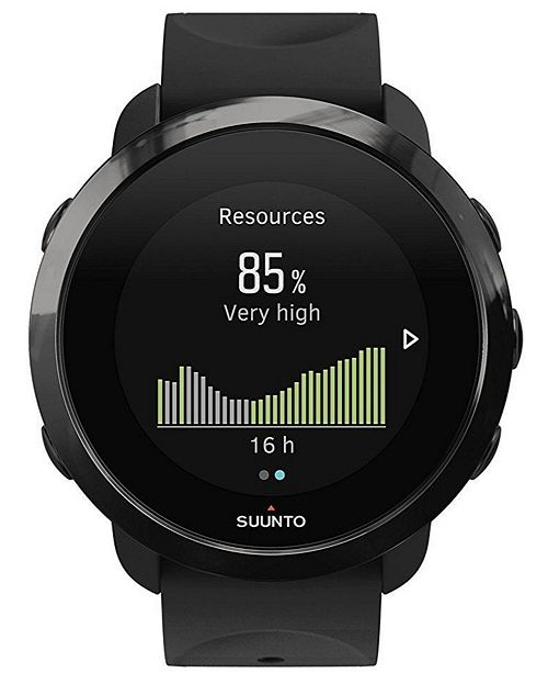 Suunto 3 Fitness Watch, Black Silicone Band with a Digital Dial