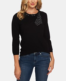 CeCe Cotton Scarf-Neck Sweater