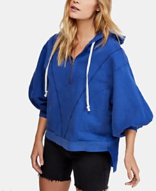 Free People Blouson-Sleeve High-Low Pullover Hoodie