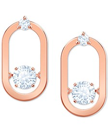 Rose Gold-Tone Crystal Oval Stud Earrings