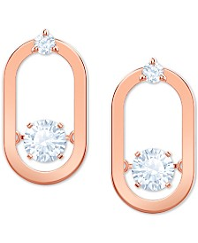Swarovski Rose Gold-Tone Crystal Oval Stud Earrings