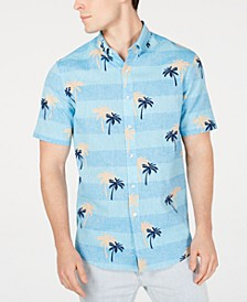 Men's Palm-Print Linen Shirt, Created for Macy's
