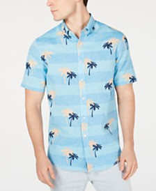 Club Room Men's Palm-Print Linen Shirt, Created for Macy's