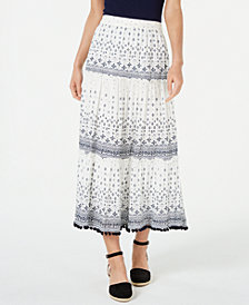 Style & Co Printed Pom Pom Maxi Skirt, Created for Macy's
