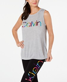 Calvin Klein Performance Printed-Logo Sleeveless T-Shirt