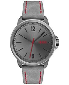 Men's #Lead Gray Nubuck Leather Strap Watch 42mm