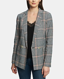 1.STATE Plaid Double-Breasted Blazer