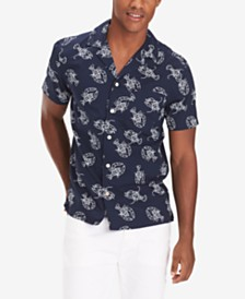 Tommy Hilfiger Men's Big and Tall Preston Lobster-Print Camp Shirt