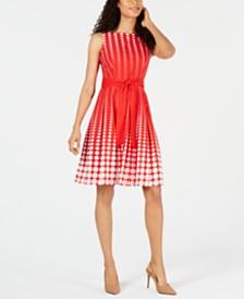 Anne Klein Cotton Dot-Print Belted A-Line Dress