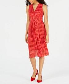 Anne Klein Dot-Print Pleated A-Line Dress