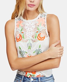 Free People Flower Power Embroidered Tank Top