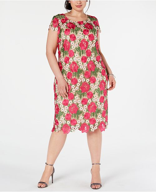 Plus Size Floral Embroidered Sheath Dress