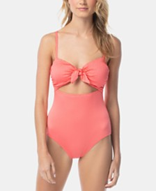 Vince Camuto Smocked Tie-Front One-Piece Swimsuit