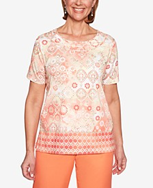 Martinique Printed Twist-Neck Top