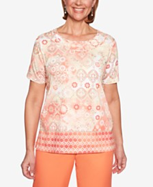 Alfred Dunner Martinique Printed Twist-Neck Top