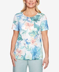 Alfred Dunner Monterey Embellished-Neck Printed Top