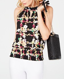 I.N.C. Printed Keyhole-Neck Top, Created for Macy's