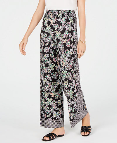 I.N.C. Petite Floral-Print Wide-Leg Pants, Created for Macy's