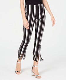 I.N.C. Petite Striped Fringe-Hem Ankle Pants, Created for Macy's