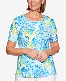 Alfred Dunner Waikiki Printed Twist-Neck Top