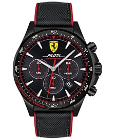 Men's Chronograph Pilota Black Nylon & Red Silicone Strap Watch 45mm