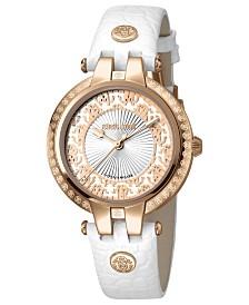 Roberto Cavalli By Franck Muller Women's Swiss Quartz White Calfskin Leather Strap Watch, 34mm