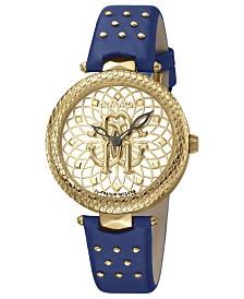 Roberto Cavalli By Franck Muller Women's Swiss Quartz Blue Calfskin Leather Strap Gold Dial Watch, 34mm