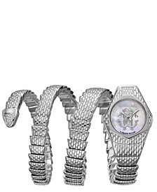 By Franck Muller Women's Diamond Swiss Quartz Silver Stainless Steel Snake Wrap Bracelet, 23mm