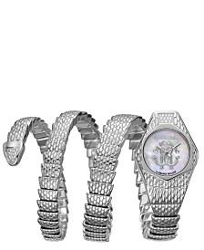 Roberto Cavalli By Franck Muller Women's Diamond Swiss Quartz Silver Stainless Steel Snake Wrap Bracelet, 23mm