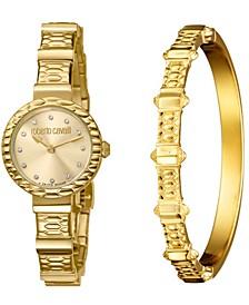 By Franck Muller Women's Diamond Swiss Quartz Gold-Tone Stainless Steel Watch & Bracelet Gift Set, 26mm
