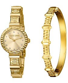 Roberto Cavalli By Franck Muller Women's Diamond Swiss Quartz Gold-Tone Stainless Steel Watch & Bracelet Gift Set, 26mm