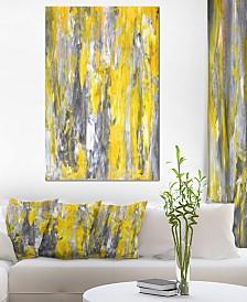 "Designart 'Grey And Yellow Abstract Pattern' Abstract Metal Wall Art - 30"" X 40"""