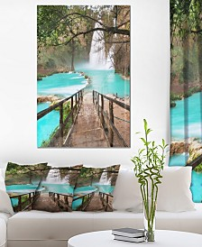 "Designart 'Stairway Into Beautiful Waterfall' Oversized Landscape Metal Wall Art - 30"" X 40"""