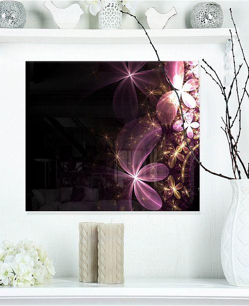 "Design Art Designart 'Purple Shiny Fractal Flowers' Abstract Metal Wall Decor Panel - 20"" X 12"""