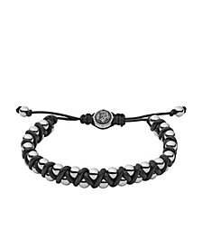 Men's Stainless-Steel Bead and Black Leather Bracelet