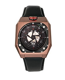 Asher Automatic Genuine Brown Case, Black Leather Watch 47mm
