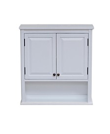 Alaterre Dorset Wall Mounted Bath Storage Cabinet with Two Doors and Open Shelf