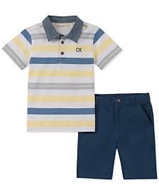Calvin Klein Baby Boys 2-Pc. Striped Polo Shirt & Twill Shorts Set