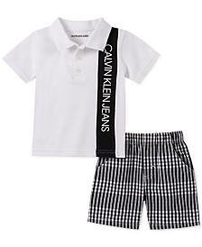 Calvin Klein Baby Boys 2-Pc. Polo Shirt & Checked Shorts Set