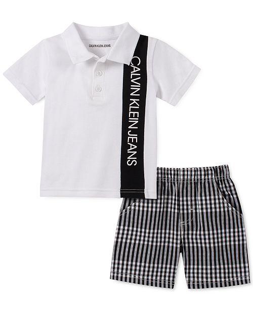 Calvin Klein Baby Boys 2-Pc. Polo Shirt & Checked Shorts Set