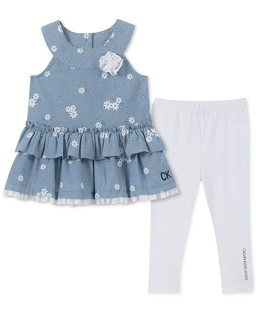 Calvin Klein Baby Girls 2-Pc. Chambray Tunic & Leggings Set