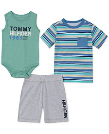 Tommy Hilfiger Baby Boys 3-Pc. Bodysuit, Striped T-Shirt & Shorts Set